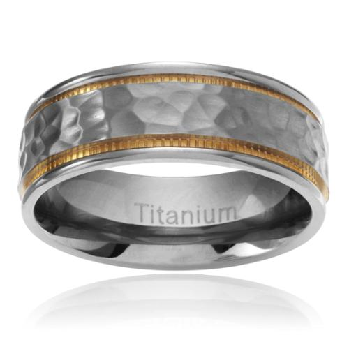 Territory Men's Titanium Yellow IP Milgrain Hammered Center Wedding Band (7.5MM) Size- 9