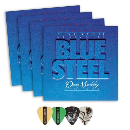 Dean Markley 2562 Blue Steel Medium Gauge Electric Guitar String(.011-.052) 4 Pack, with ChromaCast 4 Pick Sampler