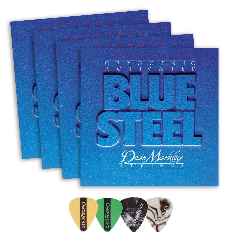 Dean Markley 2562 Blue Steel Medium Gauge Electric Guitar String(.011-.052) 4 Pack, with ChromaCast 4 Pick Sampler
