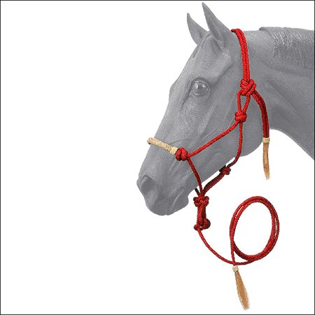 - RED TOUGH-1 HORSE SIZE RAWHIDE NOSEBAND POLY NYLON ROPE HALTER W/ LEAD