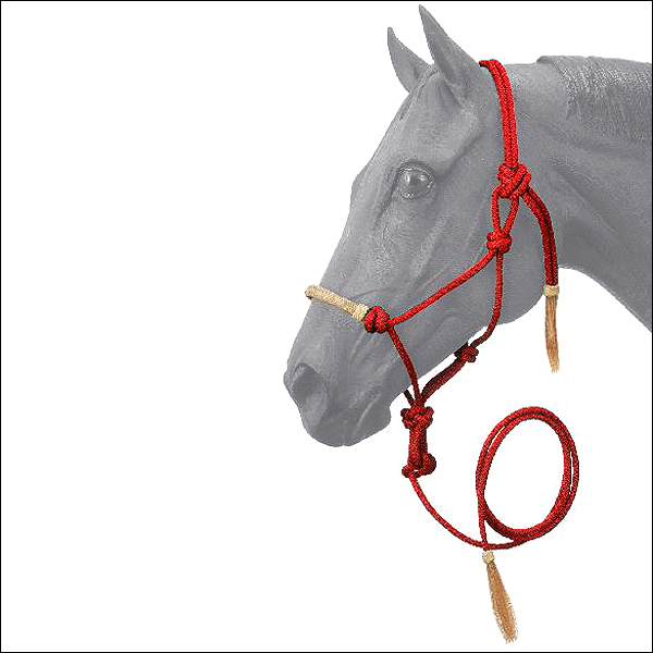 RED TOUGH-1 HORSE SIZE RAWHIDE NOSEBAND POLY NYLON ROPE HALTER W/ LEAD