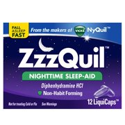 ZzzQuil Nightime Sleep Aid, 12 LiquiCaps, For the relief of occasional sleeplessness, reduces time to fall asleep if you have difficulty falling asleep By Vicks
