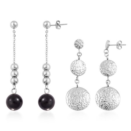 Women's Black Glass Set of 2 Dangle Drop Earrings Cttw 10](Glass Earrings)