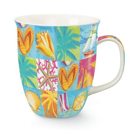 Coastal Icons Beach Patchwork Ceramic Coffee Latte Tea 16 Ounce Mug Cup