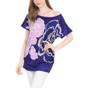 Women's Printed Dolman Sleeve Loose Tunic Blue (Size L / 12)