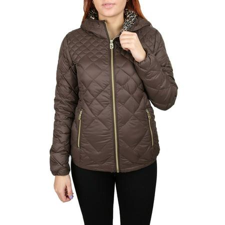 MICHAEL MICHAEL KORS Coffee Brown Down Puffer Coat Jacket Packable Leopard Hood,XS](michael kors packable puffer coat)
