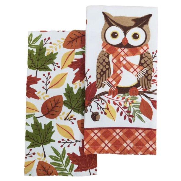 Harvest Season Owl Autumn Leaves Kitchen Towel Set 2 Dish Towels Walmart Com Walmart Com