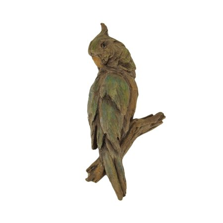 Old Carved Wood (Green and Brown Carved Old Wood Look Parrot Wall Sculpture)