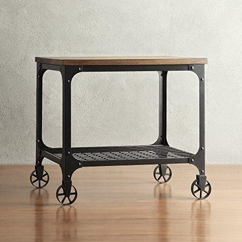 Rustic Wood Metal Frame Accent End Table with Wire Crossing Pattern Lower Shelf