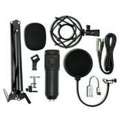 -800 Condenser Microphone USB Sound Card Mount Stand Set for Radio Braodcasting Singing Recording (Black)