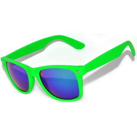 One Pair Retro Matte 80's Vintage Party Sunglasses Green Frame Blue Lens OWL