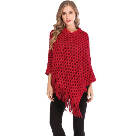 SAYFUT Womens Chic Asymmetrical Crochet Knitting Batwing Poncho Sweater With Fringe Long Sleeve Black/Red/Khaki