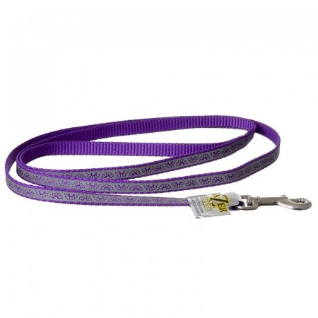 Lazer Brite Reflective Open Design Dog Leash Purple Daisy - 4