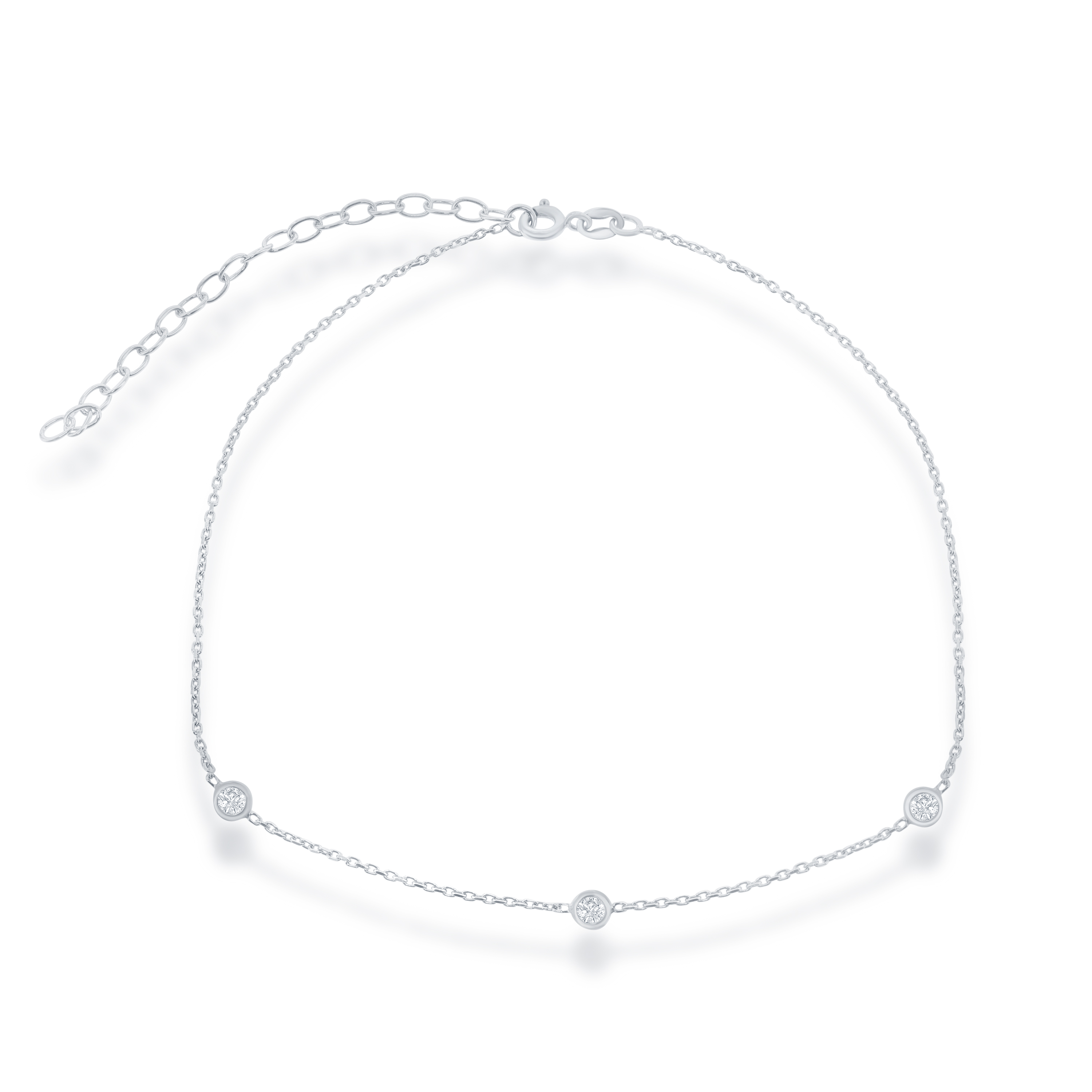 "Sterling Silver 12"" + 3"" CZ Station Choker Necklace"