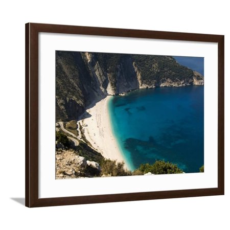 Myrtos Beach, the Best Beach for Sand Near Assos, Kefalonia (Cephalonia), Ionian Islands, Greece Framed Print Wall Art By R H