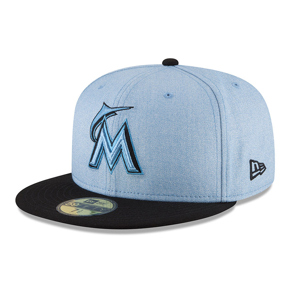 Miami Marlins New Era 2018 Father's Day On Field 59FIFTY Fitted Hat - Light Blue