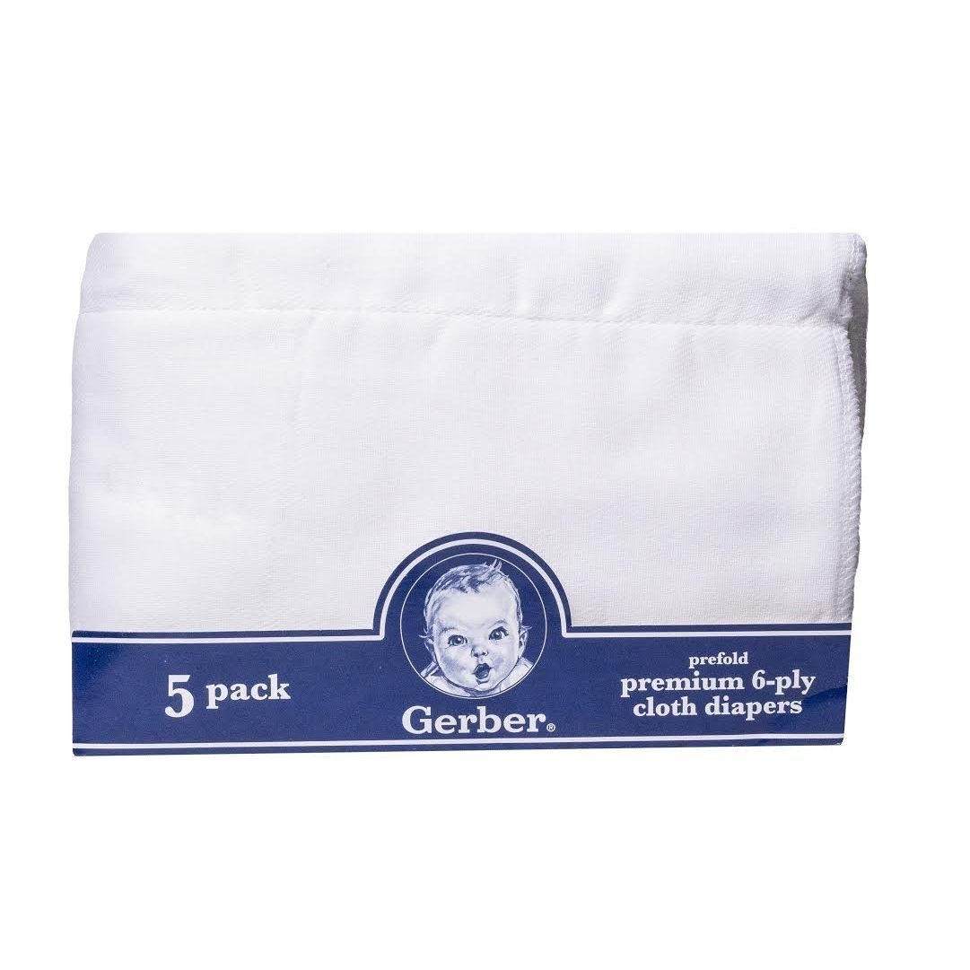 Gerber Newborn Baby Unisex Prefold White Gauze 6-Ply Cloth Diaper, 5-Pack