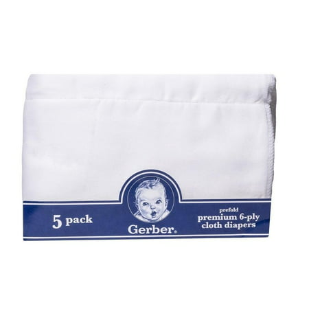 Under The Nile Cloth Diaper (Gerber Newborn Baby Unisex Prefold White Gauze 6-Ply Cloth Diaper,)