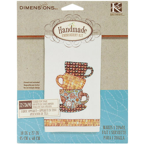 "Dimensions Handmade Teacup Towel Embroidery Kit-18""X27"""