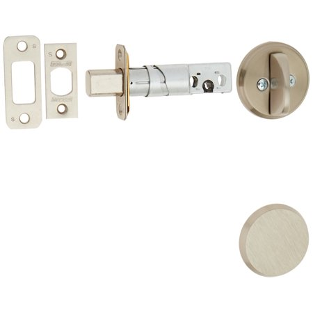 Schlage B81619 Satin Nickel Single Sided Residential Deadbolt with Thumbturn and Outside Trim Plate from the B-Series, Double cylinder locks are keyed on both sides.., By Schlage Lock Company ()