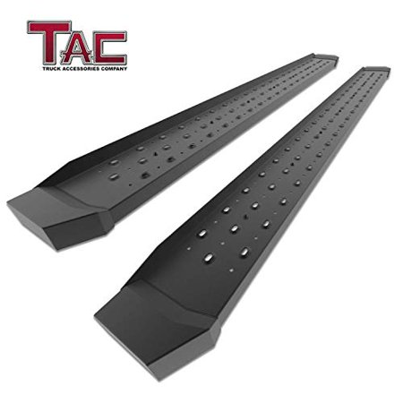 """TAC 6.5"""" Running Boards Fit 2019 Chevy Silverado / GMC Sierra 1500 Crew Cab (Excl. Diesel models with DEF tanks) Truck Pickup Utility Black Rattler Steel Side Bars Step Rails Off Road Accessories"""