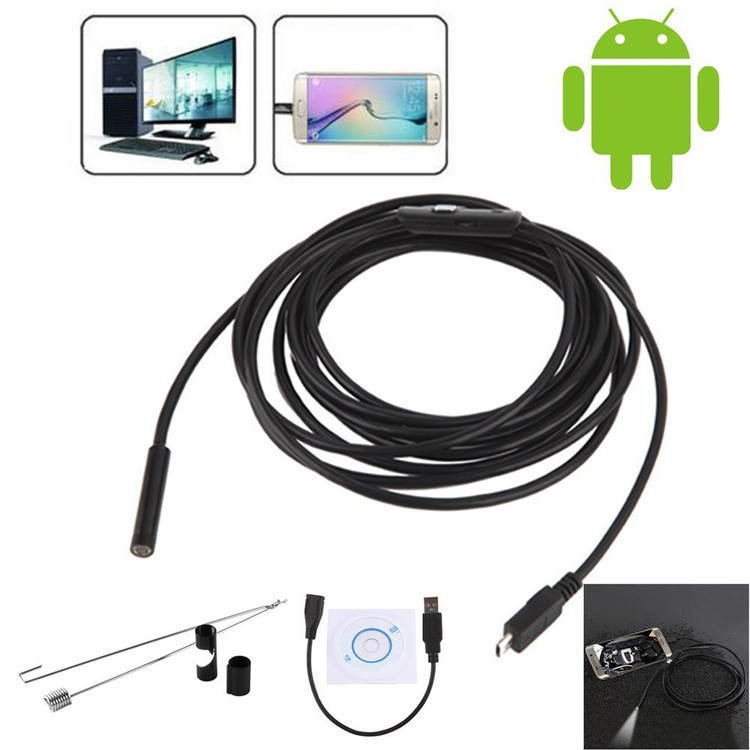 Waterproof HD 5M/7mm Endoscope Lens Mini USB Inspection Camera with 6 LED Lights Borescope for Android Smartphone/PC/Laptop(Not Work with Samsung Products)