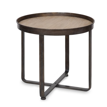 Natural Wrought Iron Screen - Kate and Laurel Zabel Modern Farmhouse Round End Table with Wrought Iron Metal Criss Cross Base and White Oak Finished Wooden Insert Top