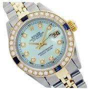 Pre-Owned Rolex Ladies Datejust Ice Bluel Diamond & Sapphire Bezel Two Tone 26mm