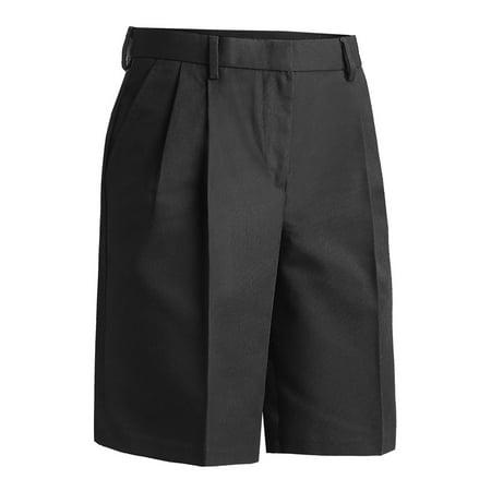 Ed Garments Women's Classic Fit Pleated Short, BLACK,