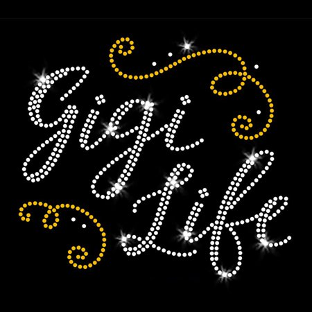 Gigi Life Iron On Rhinestone and Rhinestud Transfer for Grandma Grandmother