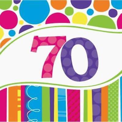 Bright & Bold 70th Birthday Lunch Napkins , 4PK