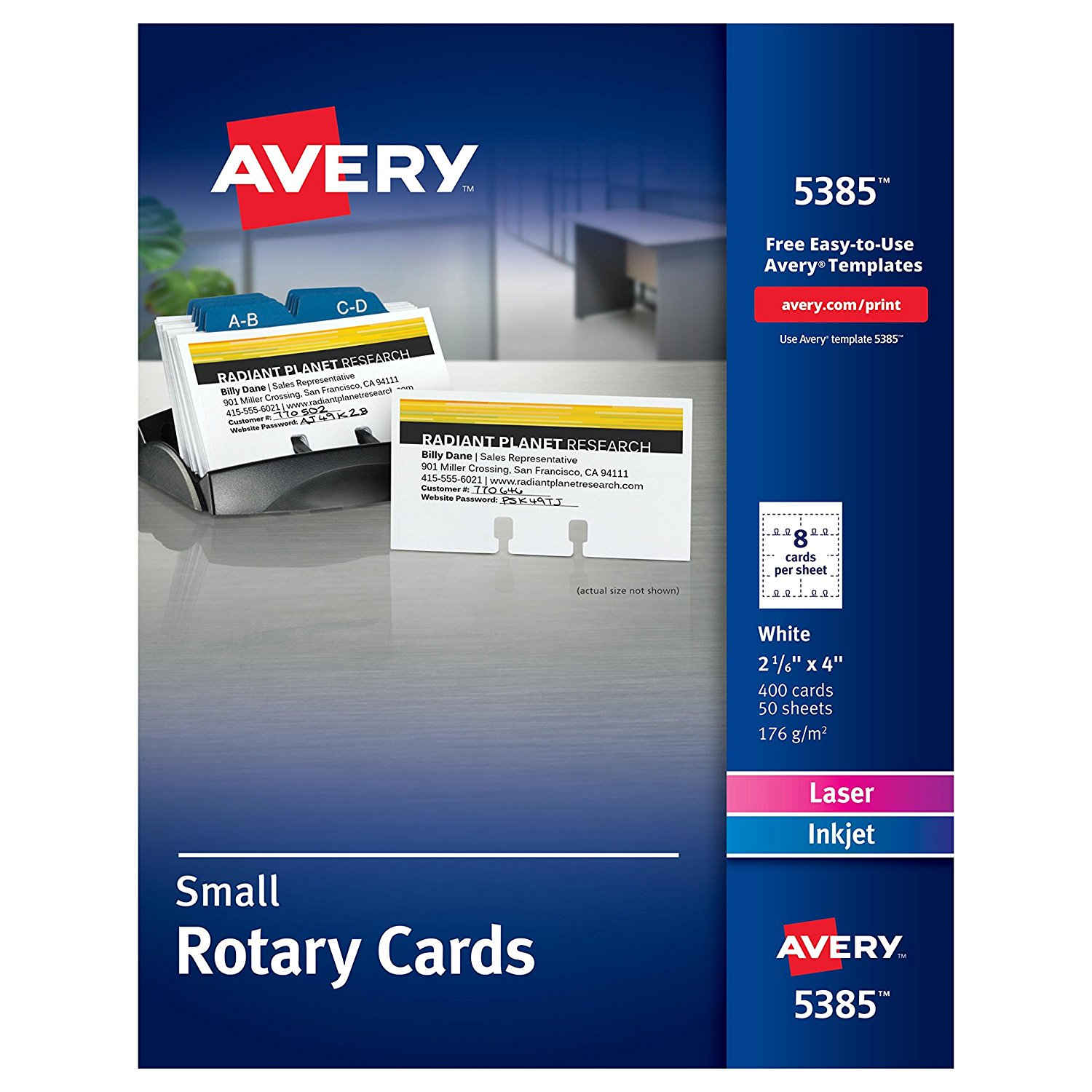 "Laser Rotary Cards, 2 1/6in."" x 4in., Box of 400 Cards (5385), Laser/Ink Jet Rotary Cards. Heavyweight card stock sheets feed automatically from paper tray..., By Avery"