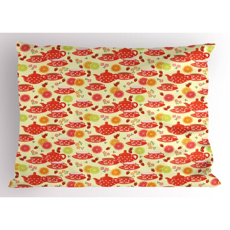 Modern Pillow Sham Teapots and Cup with Polka Dots Lime Orange and Strawberry Fruits Cute Display, Decorative Standard Queen Size Printed Pillowcase, 30 X 20 Inches, Yellow Scarlet, by Ambesonne - Tea Cup Display