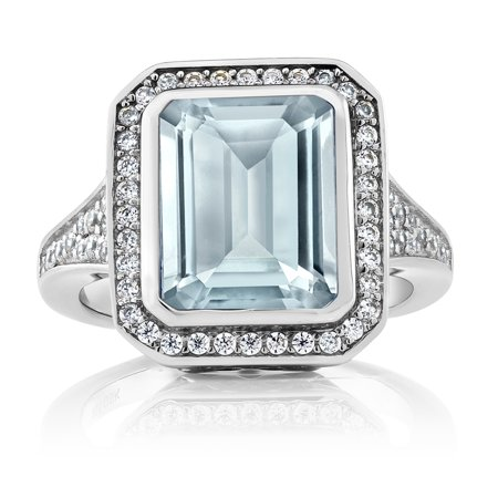 5.00 Ct Women's 925 Sterling Silver Octagon Cut Simulated Aquamarine -