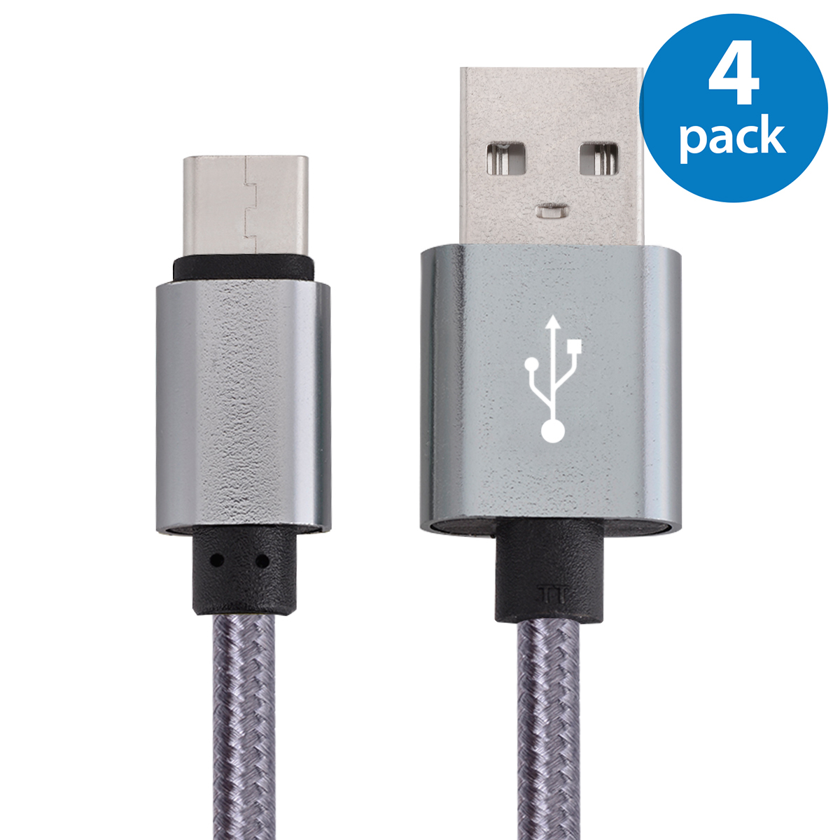 4x USB Type C Cable Fast Charging Cable 10FT USB-C Type-C 3.1 Nylon Braided Data Sync Charger Cord For Samsung Galaxy S8 + Note 8 Nexus 5X 6P LG G5 G6 V20 HTC 10 Google Pixel XL OnePlus 3 5 Space Gray