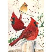 "Cardinals in Winter House Flag Birds Snowy Scene 28"" x 40"" Briarwood Lane"