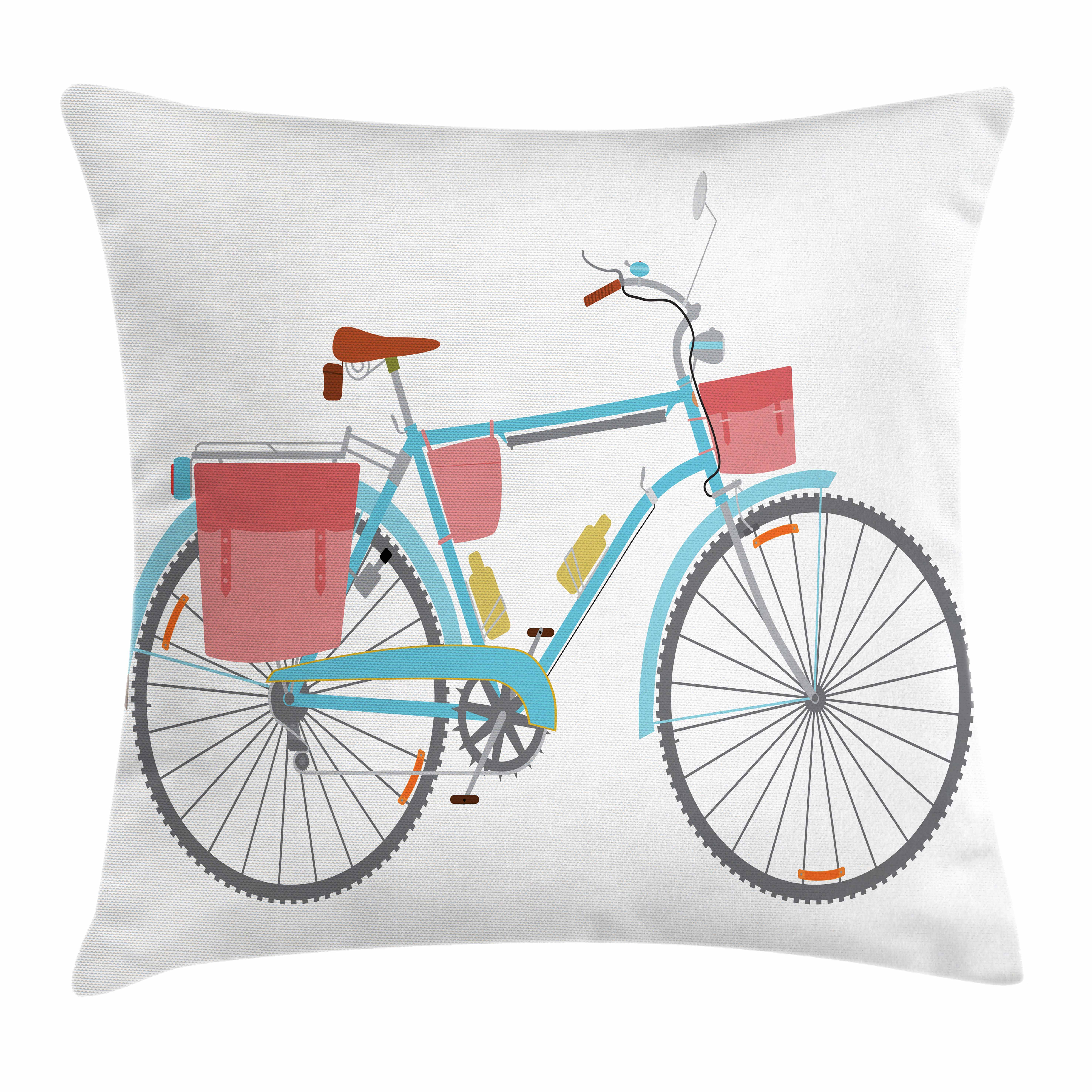 Bicycle Throw Pillow Cushion Cover, Classic Touring Bike with Derailleur and Saddlebags Healthy Active Lifestyle Travel, Decorative Square Accent Pillow Case, 16 X 16 Inches, Multicolor, by Ambesonne