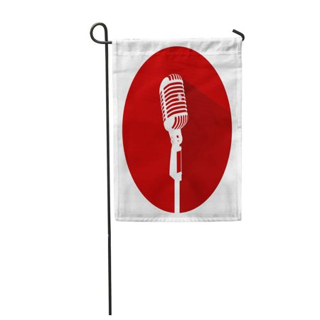 JSDART Vintage White Silhouette Retro Stage Microphone in Circle Old Technology Object Flat Garden Flag Decorative Flag House Banner 28x40 inch - image 1 of 1