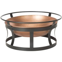 """Safavieh Bonaire 28"""" Diameter Outdoor Fire Pit with Grate and Fire Poker, Copper/Black"""