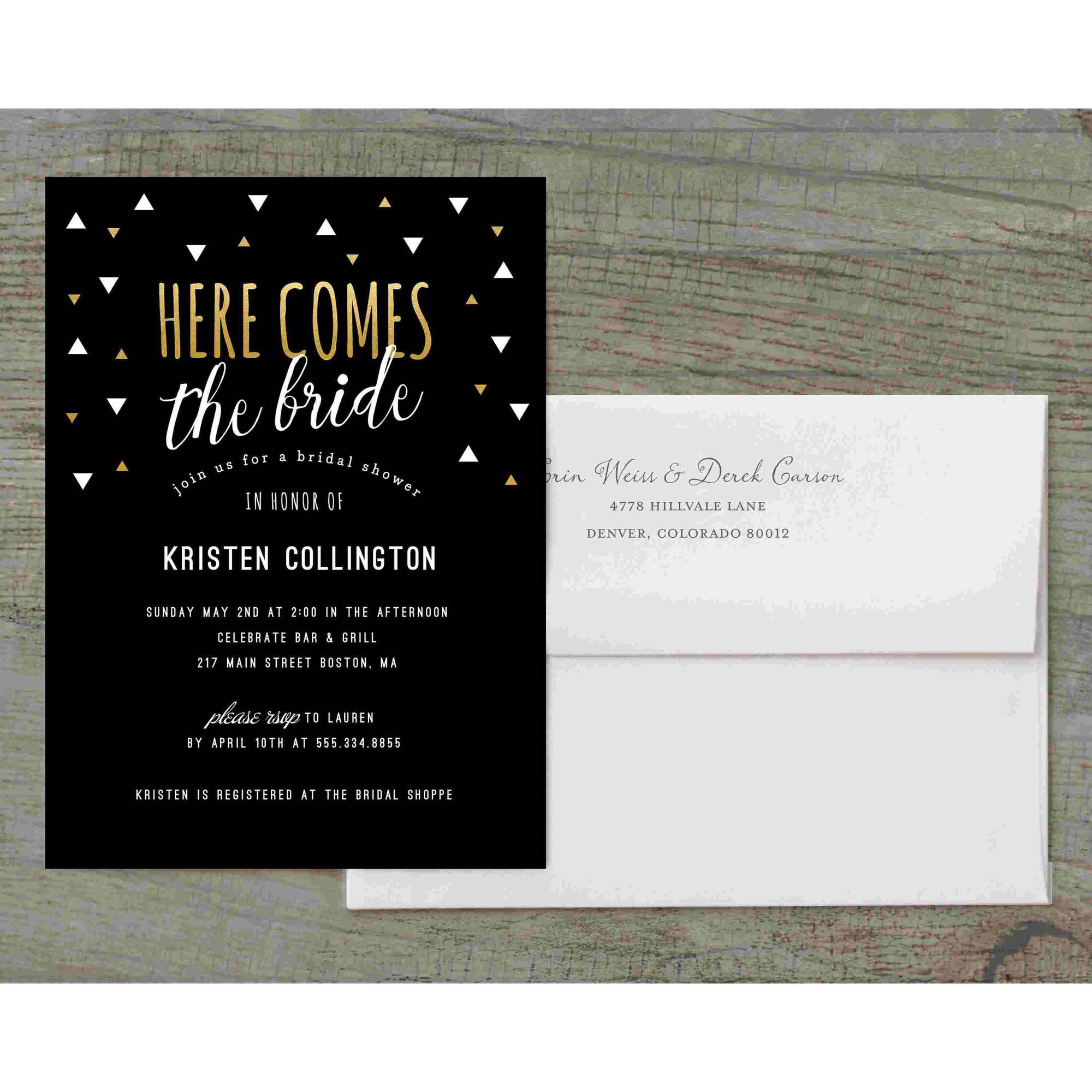 Here Comes the Bride Deluxe Bridal Shower Invitation