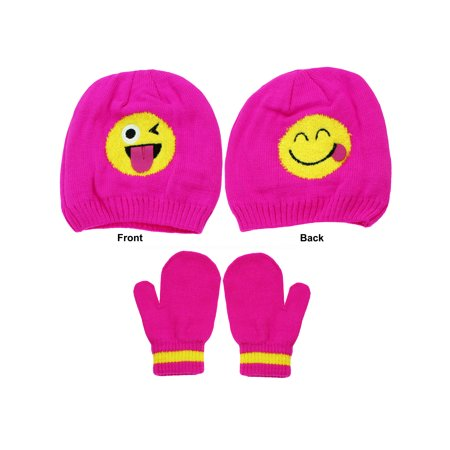 Emoji Toddler Girls Wink and Smiley Face Beanie Winter Hat and Mittens Pink 2T-4T](Emoji Wink)