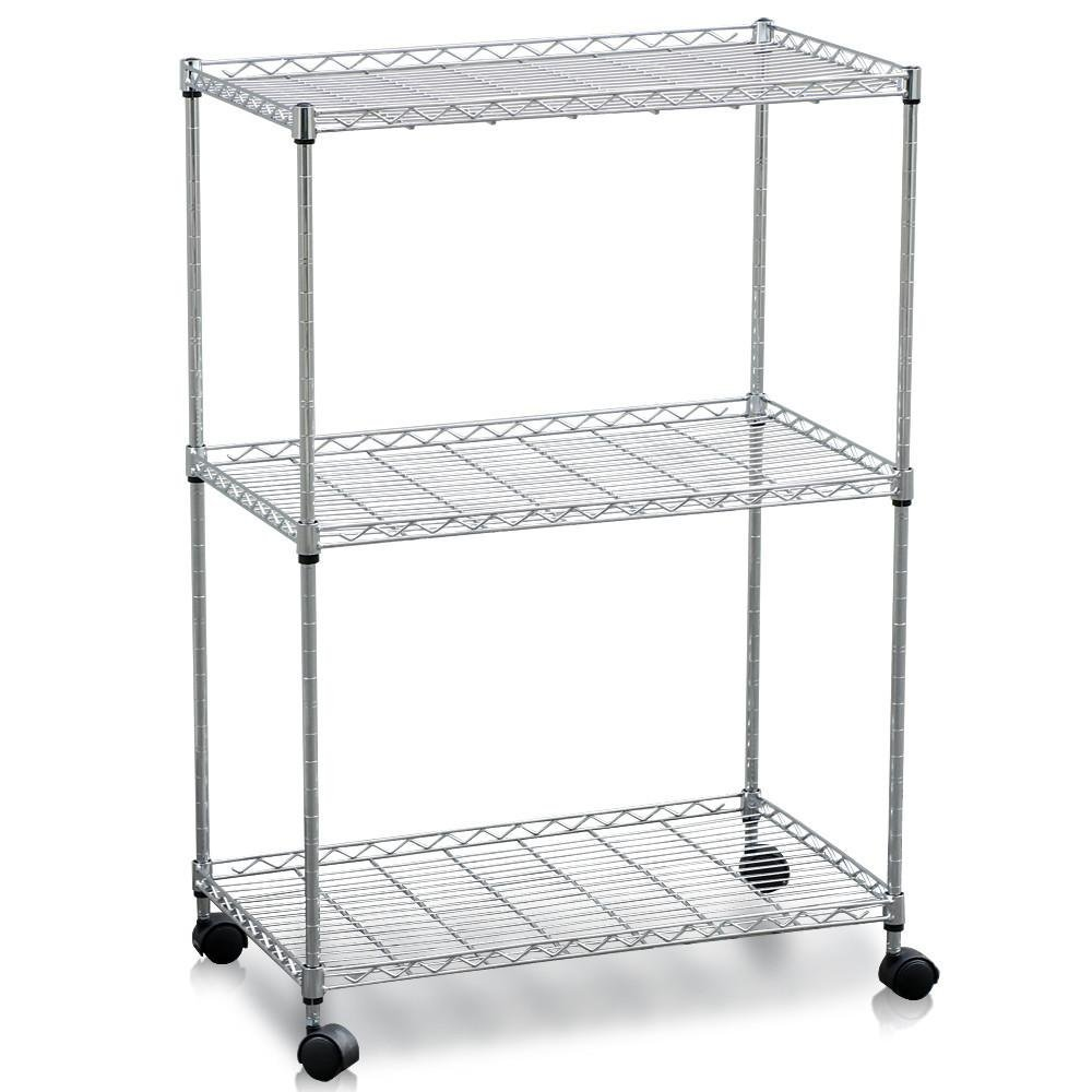 Yaheetech 3-Tier Metal Utility Stand Rolling Kitchen Dining Storage Basket Trolley Cart Bathroom Laundry Organizer