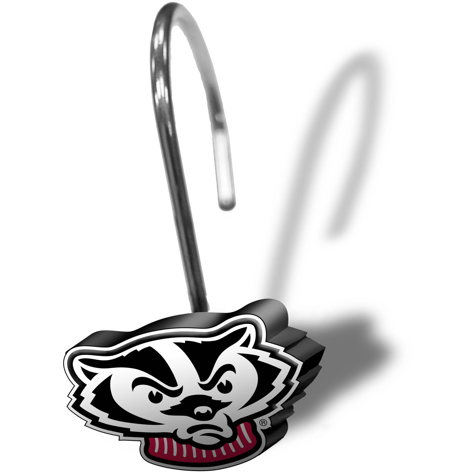 NCAA 12-Piece Shower Curtain Ring Set, Wisconsin