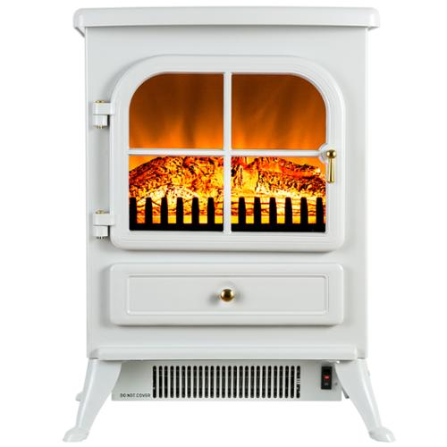 AKDY 15-inch Freestanding 1500W Adjustable 2 Setting Tempered Glass 5200 BTU White Electric Fireplace Stove Heater
