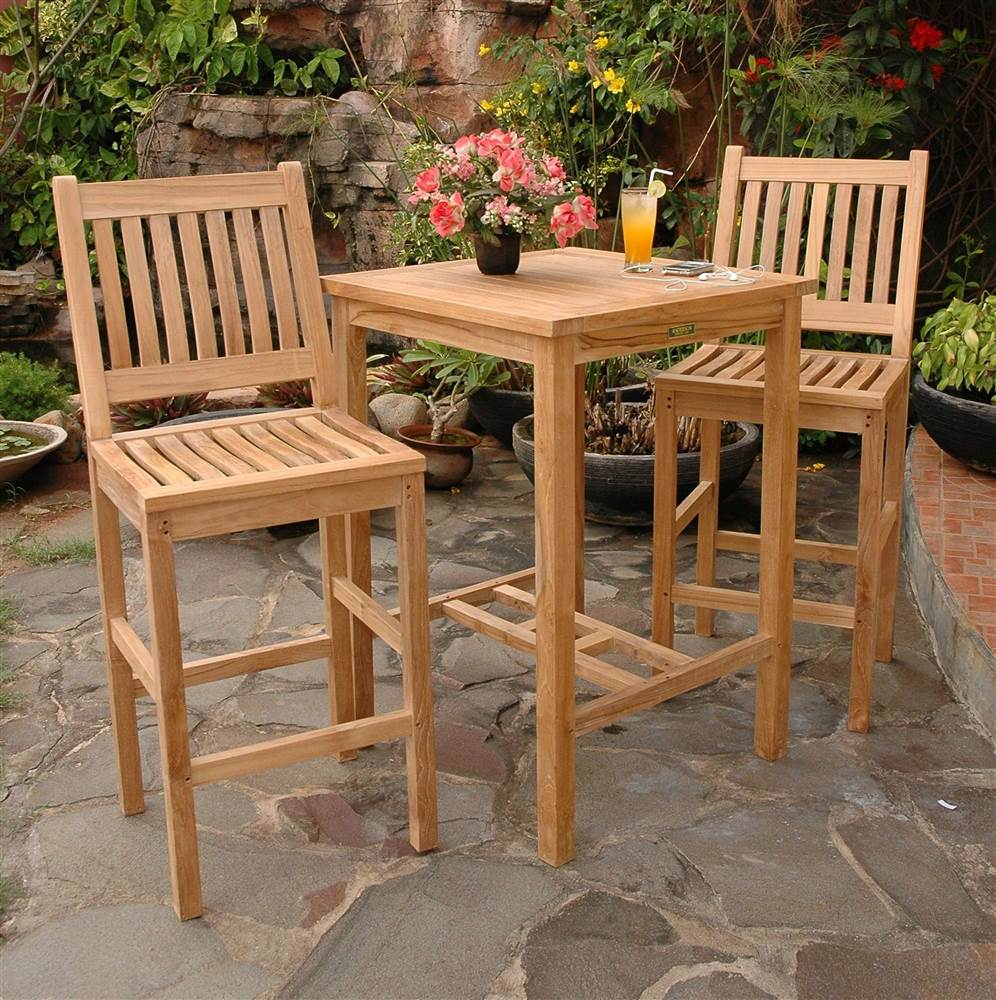 Avalon 27 in. Square Bar Table & 2 Avalon Bar Stool
