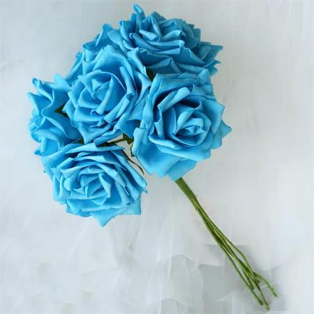 Efavormart 6 Large Roses Bouquets for DIY Wedding Bouquets Centerpieces Arrangements Party Home Decorations Wholesale - 8 Colors