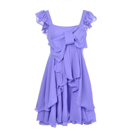 Anna-Kaci S/M Fit Purple Large Bow Chiffon Ruffled Multi Tiered Fancy Cake Dress - Ideas For Couples Fancy Dress