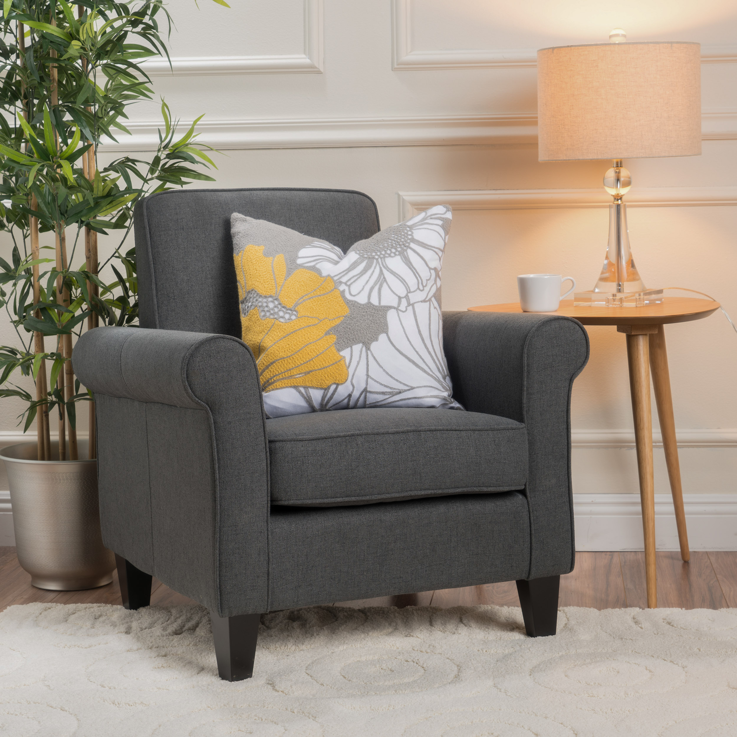 Noble House Frederick Fabric Club Accent Chair, Dark Grey
