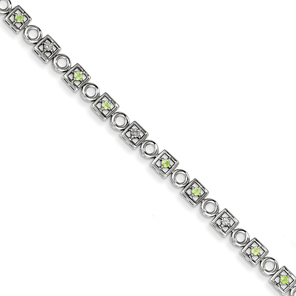Sterling Silver Peridot and Diamond Bracelet .006 dwt .45 cwt by