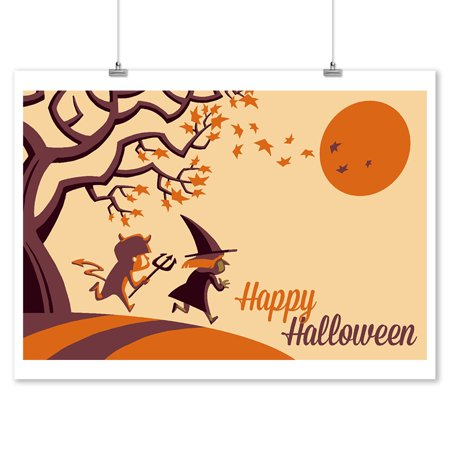 Happy Halloween Fall Tree - Retro Halloween - Lantern Press Artwork (9x12 Art Print, Wall Decor Travel Poster) - Happy Halloween Artwork